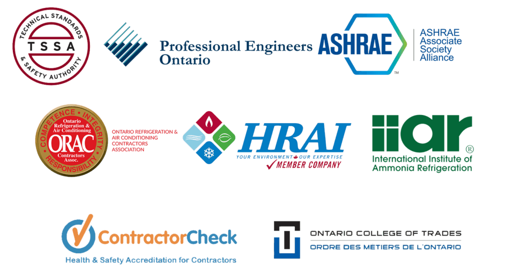 Logos of related associations including Technical Standards & Safety Authority (TSSA), Professional Engineers Ontario, ASHRAE, and more.